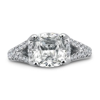 Grand Opulance Collection Cushion Shape Center Split Shank Engagement Ring with in 14K White Gold (3 ct. tw.)