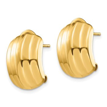 14k Polished Ribbed Omega Back Post Earrings
