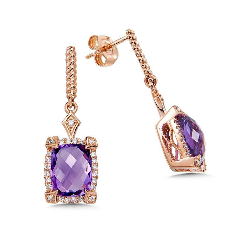 Colore Sg Amethyst & Diamond Earrings in 14K Rose Gold
