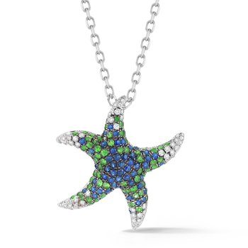"Blue Sapphire & Diamonds Starfish Necklace 3/4"" wide on top"