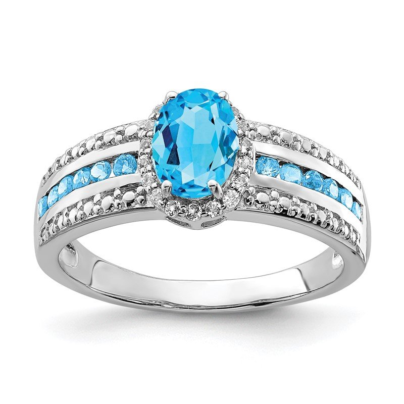 Quality Gold Sterling Silver Rhodium Blue and White Topaz Ring