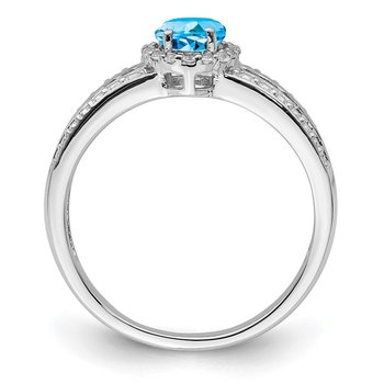 Sterling Silver Rhodium Blue and White Topaz Ring