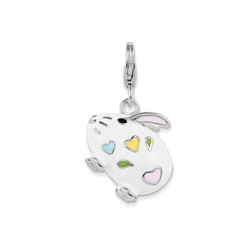 Sterling Silver and Enamel Bunny Rabbit w/ Lobster Clasp Charm