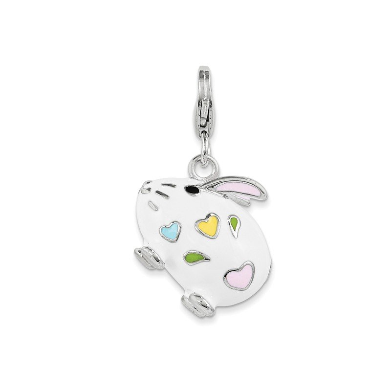 Quality Gold Sterling Silver and Enamel Bunny Rabbit w/ Lobster Clasp Charm