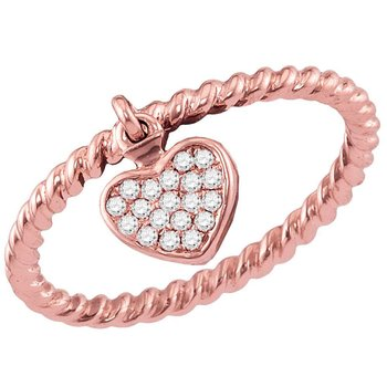 14kt Rose Gold Womens Round Diamond Heart Dangle Stackable Band Ring 1/10 Cttw
