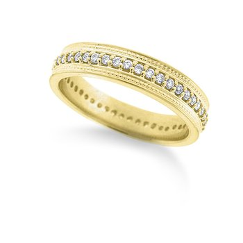 Diamond Double Beaded Ring in 14k Yellow Gold with 46 Diamonds weighing .36ct tw