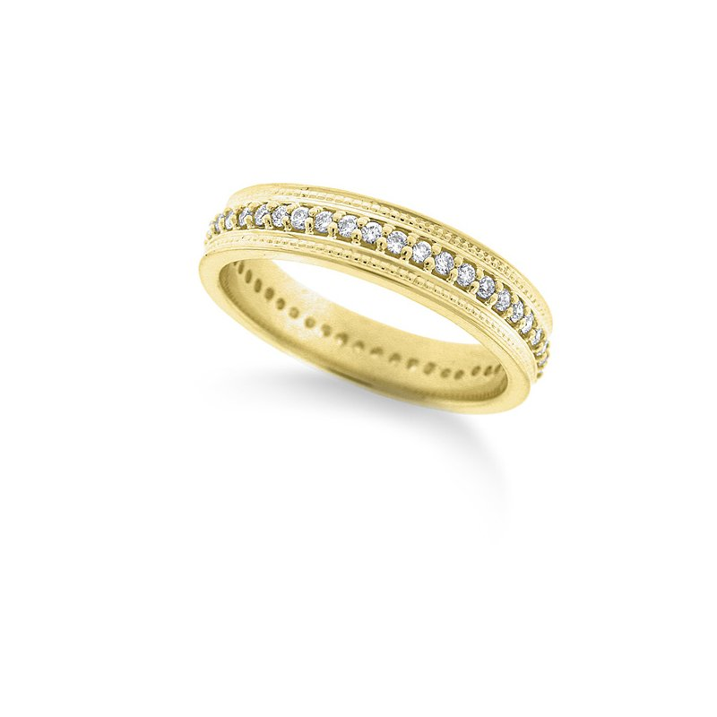 KC Designs Diamond Double Beaded Ring in 14k Yellow Gold with 46 Diamonds weighing .36ct tw
