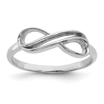 Sterling Silver Rhodium-plated Overlap Infinity Ring
