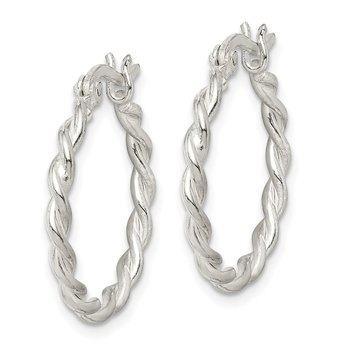 Sterling Silver Twisted 2mm Hoop Earrings