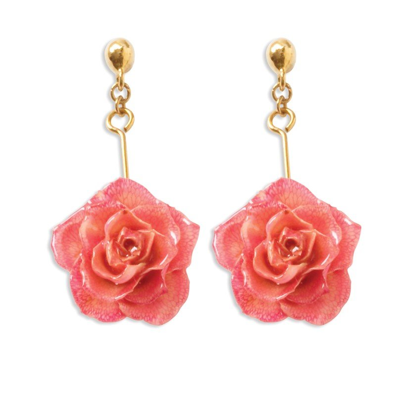 Quality Gold Lacquer Dipped Pink Rose Dangle Earrings