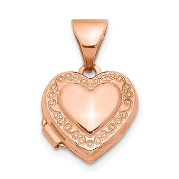 14k Rose Gold Polished 10mm Heart-Shaped Scrolled Locket