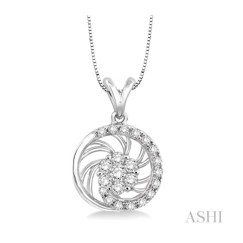ASHI flower shape diamond pendant