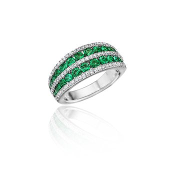 Chasing Bliss Emerald and Diamond Stacked Row Ring
