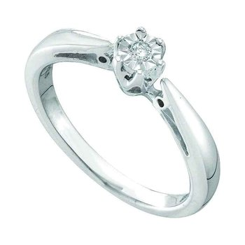 Sterling Silver Womens Round Diamond Solitaire Bridal Wedding Engagement Ring 1/20 Cttw