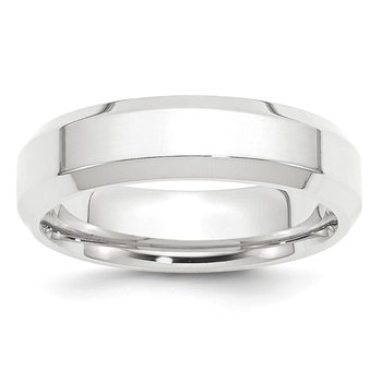 Platinum 6mm Polished Beveled Edge Size 10 Wedding Band