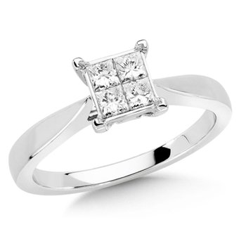 Invisible set Princess cut Diamond Solitaire Engagement ring in 14k White Gold (3/8ct. tw.)