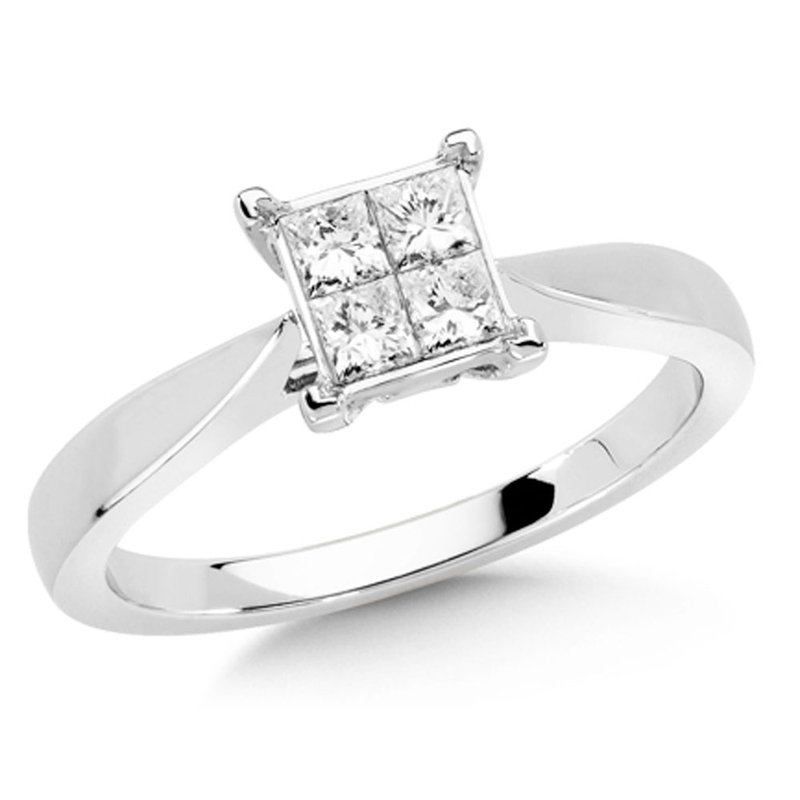 SDC Creations Invisible set Princess cut Diamond Solitaire Engagement ring in 14k White Gold (3/8ct. tw.)