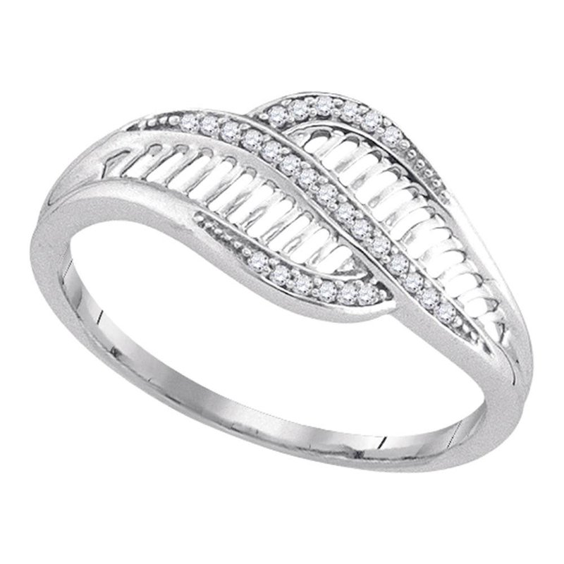 Gold-N-Diamonds, Inc. (Atlanta) 10kt White Gold Womens Round Diamond Bypass Fashion Band Ring 1/12 Cttw