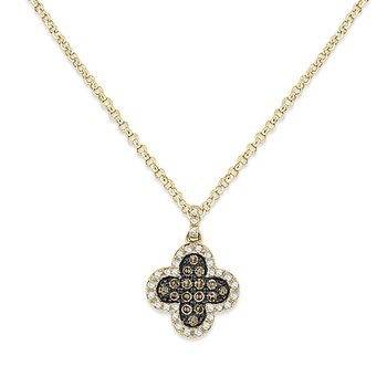 White And Champagne Diamond Clover Necklace in 14k Yellow Gold with 47 Diamonds weighing .17ct tw.