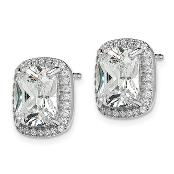 Sterling Silver Rhodium-plated 10x8 Cushion CZ Earrings