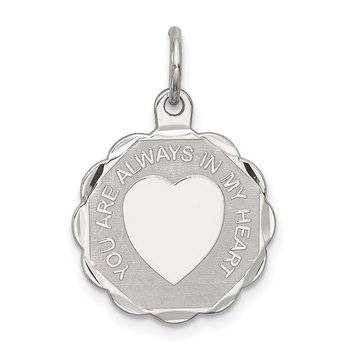 Sterling Silver Rhodium-plated Your Always In My Heart Disc Charm