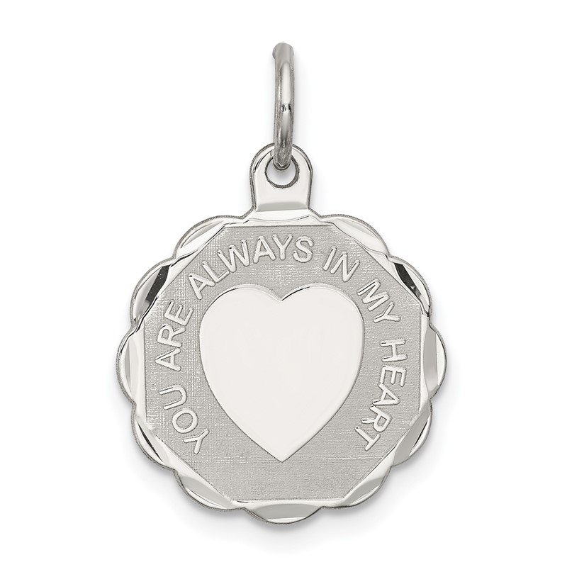 Quality Gold Sterling Silver Rhodium-plated Your Always In My Heart Disc Charm