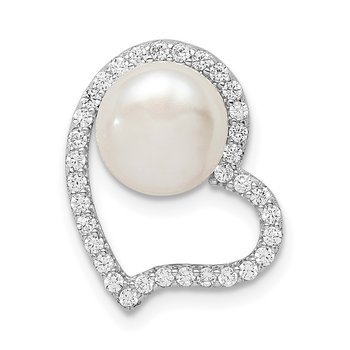 Sterling Silver Rhod-plated CZ Heart & Imitation Shell Pearl Chain Slide