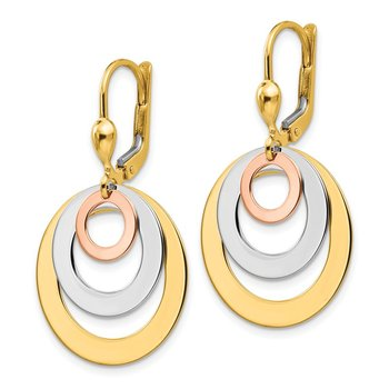 14k Tri-color Circle Leverback Dangle Earrings