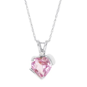 10k White Gold Created Pink Sapphire and Diamond Accent Pendant Necklace
