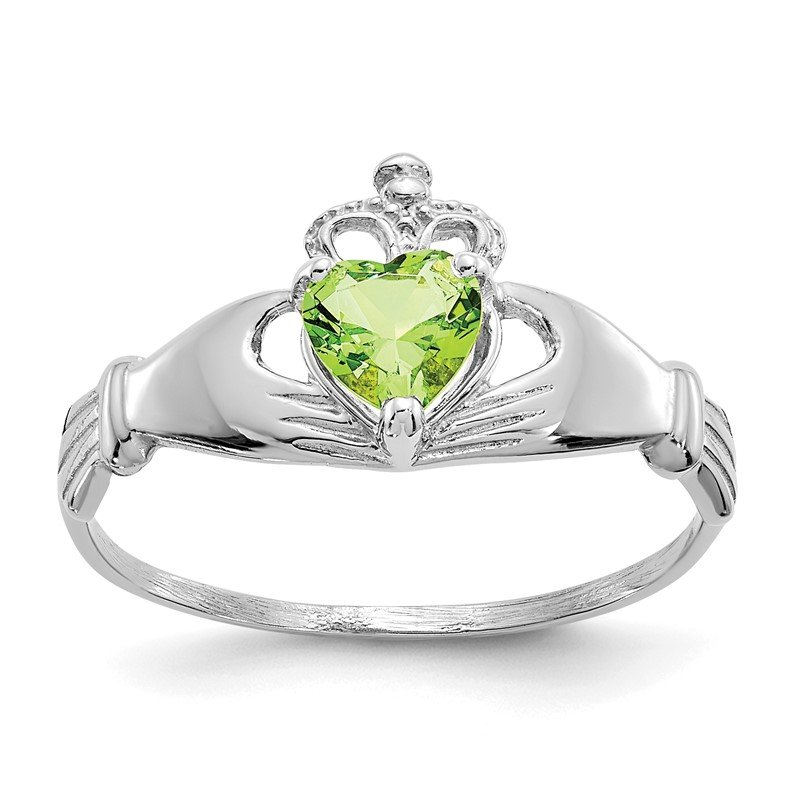 Lester Martin Online Collection 14k White Gold CZ August Birthstone Claddagh Heart Ring