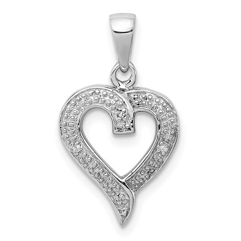 Quality Gold Sterling Silver Rhodium Diamond Heart Pendant