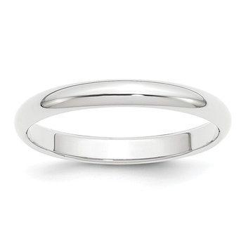 Platinum 3mm Half-Round Wedding Band