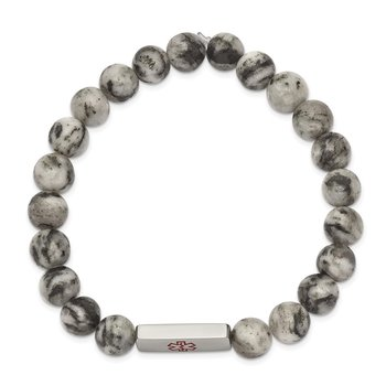 Stainless Steel Polished Medical ID Lotus Jasper Bead Stretch Bracelet