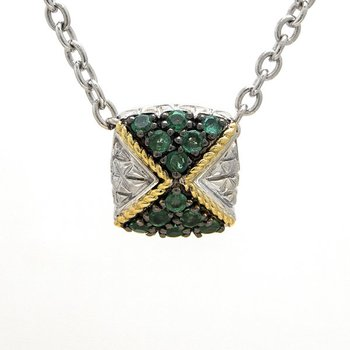 18KT AND STERLING SILVER EMERALD NECKLACE