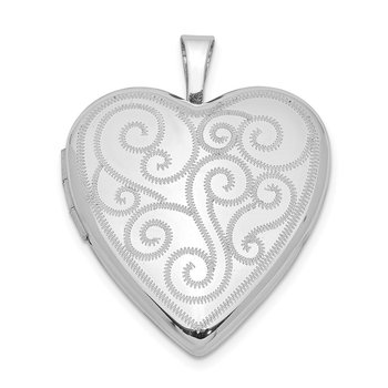 Sterling Silver Rhodium-plated 20mm Swirl Design Heart Locket