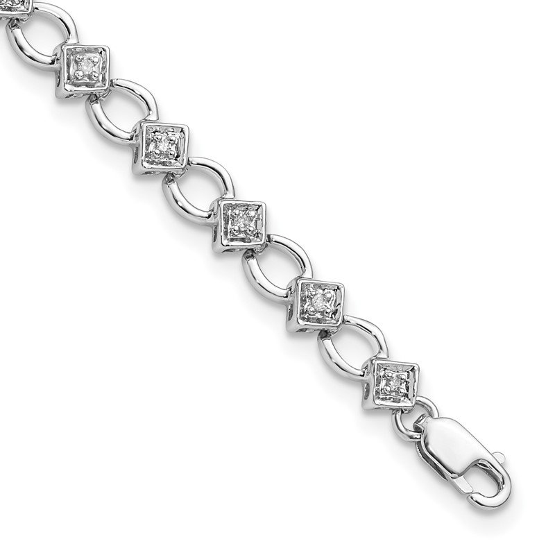 Quality Gold Sterling Silver Rhodium-plated Diam. Bracelet