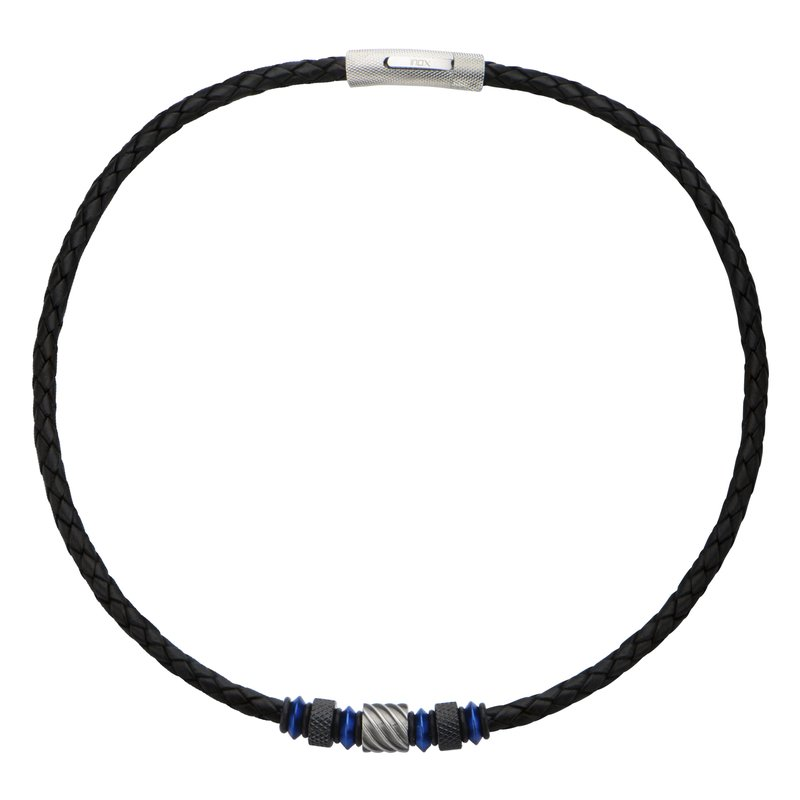 INOX Men's Jewelry Beads in Black Braided Leather Necklace