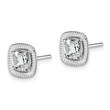 Sterling Silver Rhod-plat White Topaz Square Post Earrings