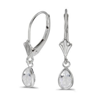14k White Gold Pear White Topaz Bezel Lever-back Earrings