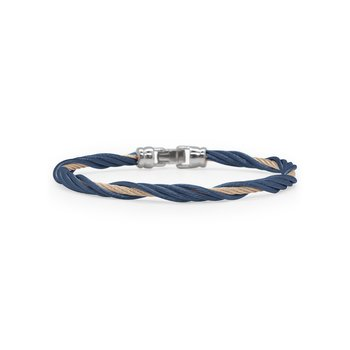 Blueberry & Carnation Cable Modern Twist Bracelet
