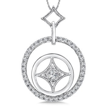 Round Diamond Pendant in 14K White Gold (.33 ct. tw.)