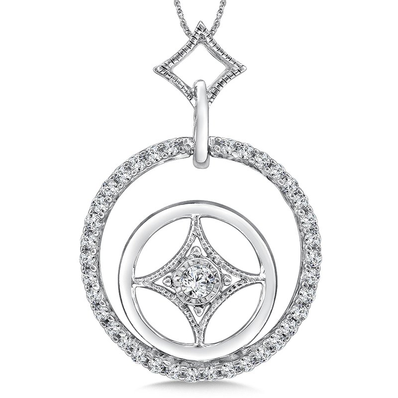SDC Creations Round Diamond Pendant in 14K White Gold (.33 ct. tw.)