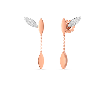 18Kt Gold Petal Earrings With Diamonds
