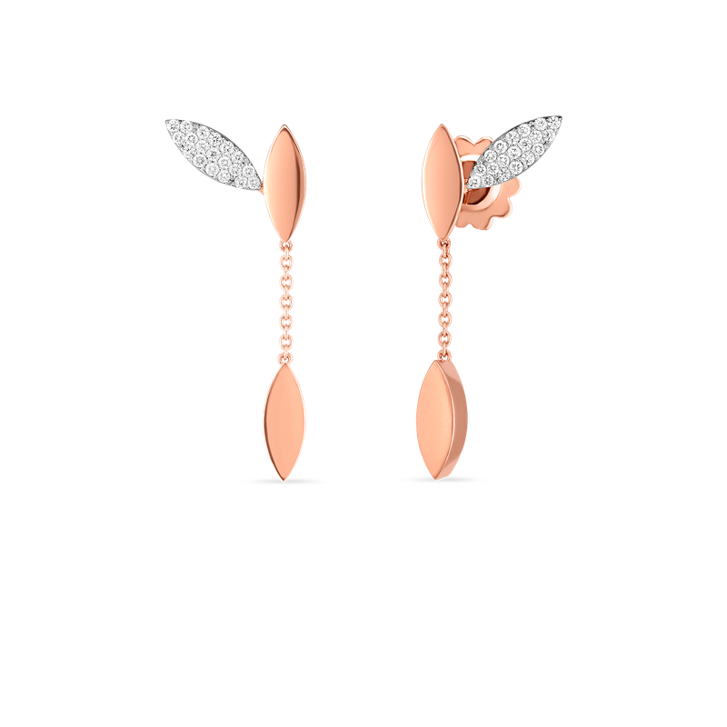 Roberto Coin 18Kt Gold Petal Earrings With Diamonds