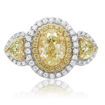 Oval Fancy Yellow Side Stone Ring