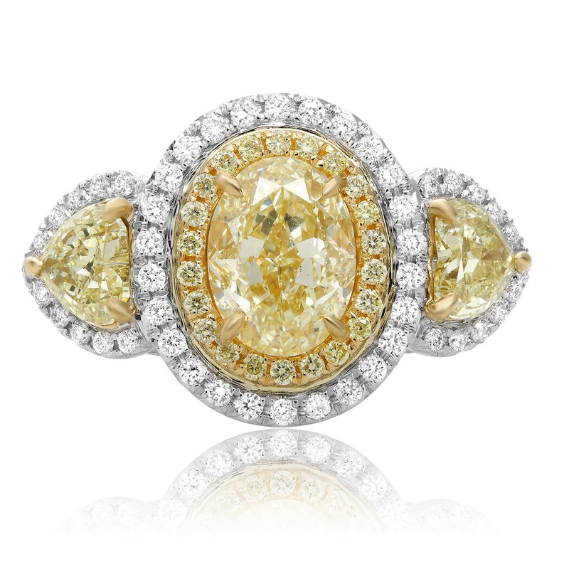 Roman & Jules Oval Fancy Yellow Side Stone Ring