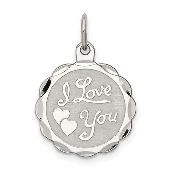 Sterling Silver Rhodium-plated I Love You Disc Charm