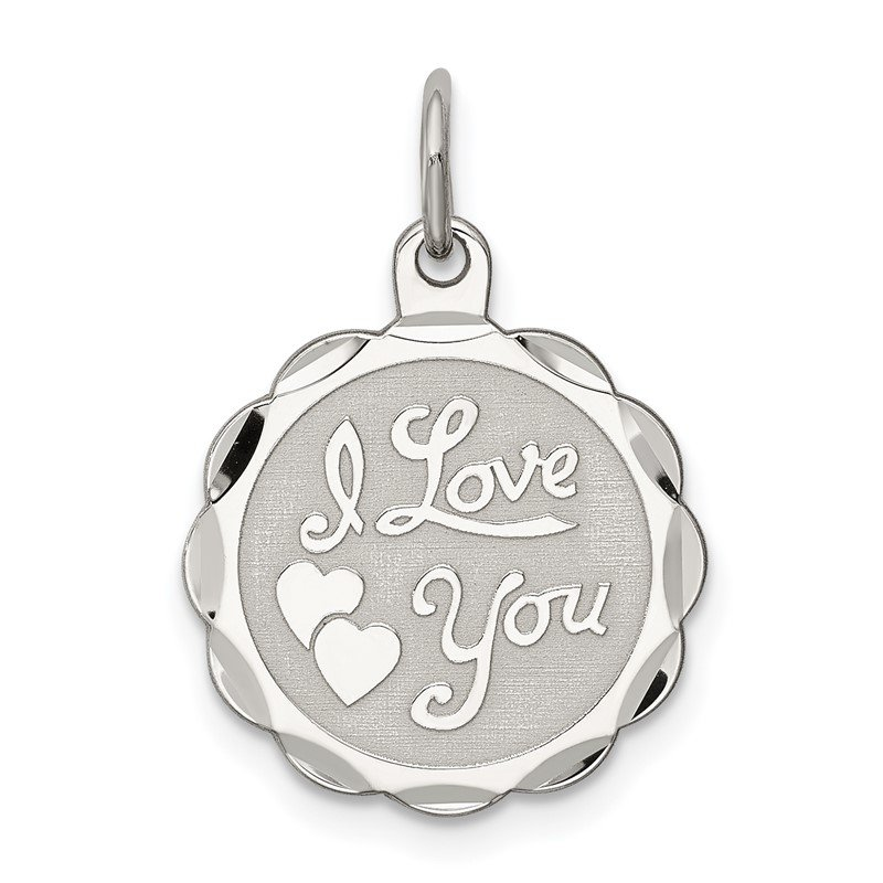 Quality Gold Sterling Silver Rhodium-plated I Love You Disc Charm