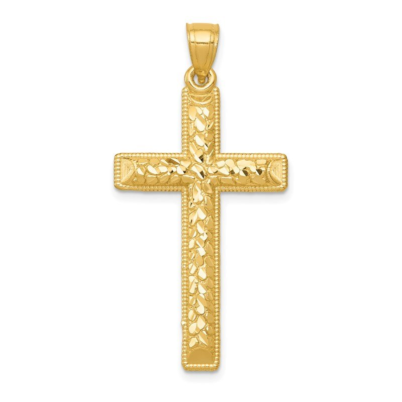 Quality Gold 14k Diamond-cut Latin Cross Pendant