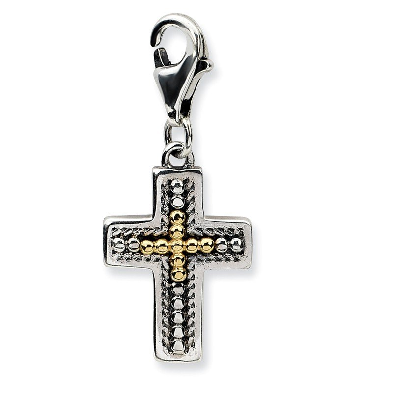 Shey Couture Sterling Silver w/14k 3-D Antiqued Cross w/Lobster Clasp Charm